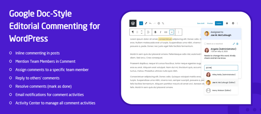 Doc Style Commenting for Gutenberg