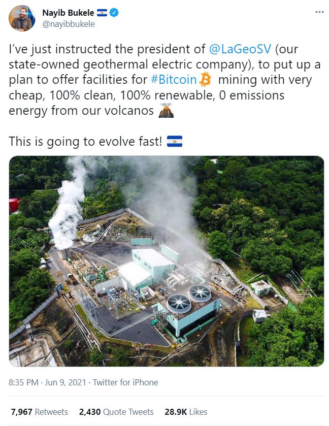 """El Salvador's """"Bitcoin President"""" Plans to Launch Geothermal-powered Bitcoin Mining Operation"""